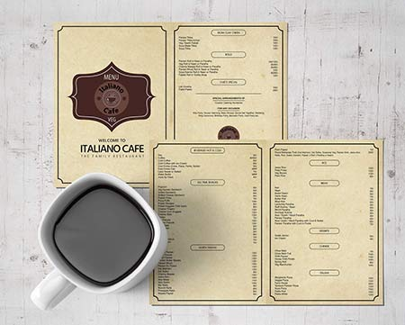 ItalionO Cafe Menu Card Design